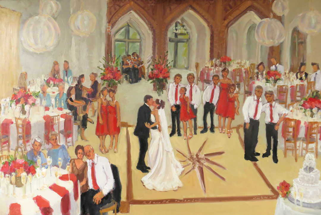 wedding at aldie mansion on the mercer estate live event painting by joan zylkin the