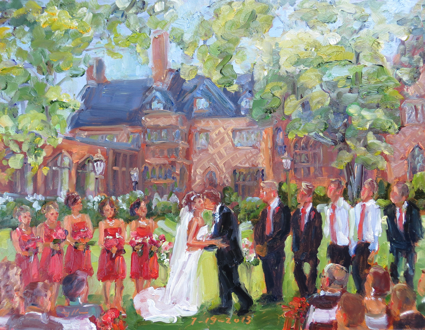 wedding painting from photos by joan zylkin the event painter wedding at aldie mansion