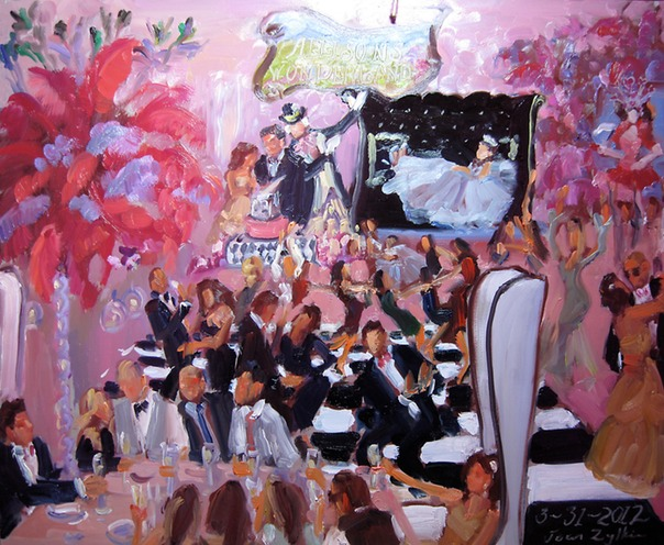 Allison's Wonderland Bat Mitzvah Live Event Painting by Joan Zylkin The Event Painter