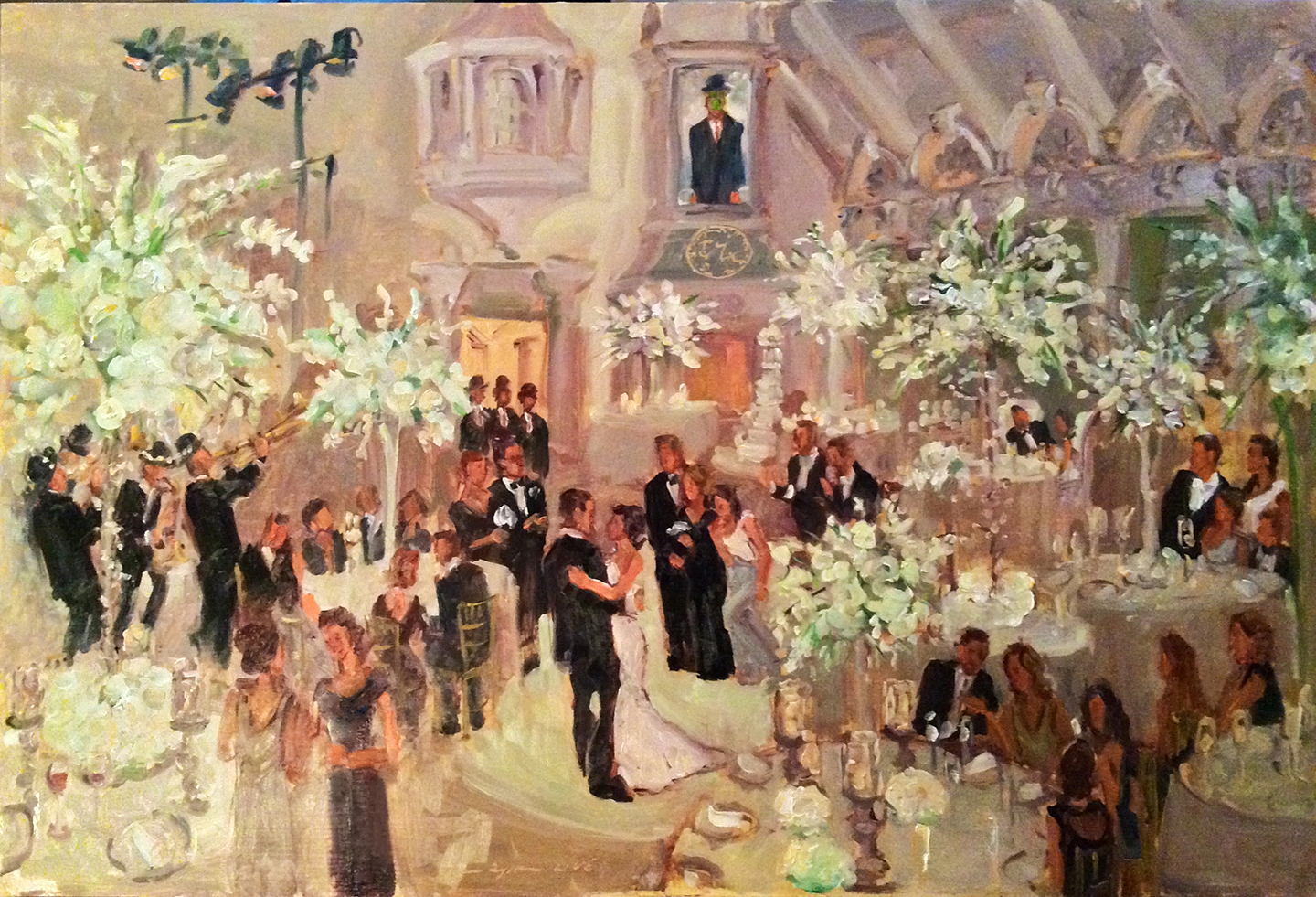 Live Wedding Painting At The Ashford Estate Nj With Men In Bowler Hats From Thomas