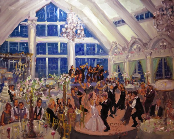 Ashford Estate Wedding Painting captured live by Joan Zylkin The Event Painter.  Wedding gift from parents.