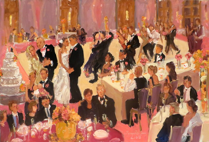 live-event artist. baseball wedding painting at Four Seasons by Joan Zylkin The Event Painter