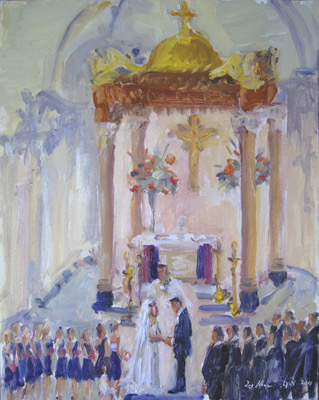 wedding painting by Joan Zylkin The Event Painter: church ceremony, St. Pete's FL.