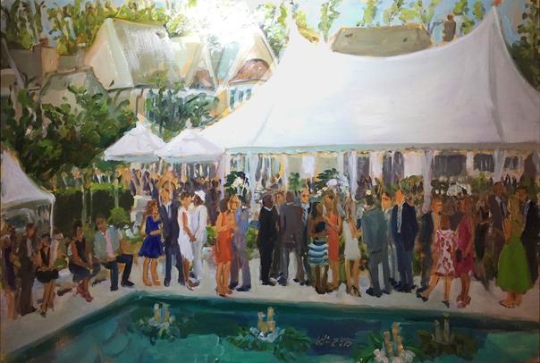 celebrating 60 good years in business captured in a live event painting during the party by Joan Zylkin The Event Painting.