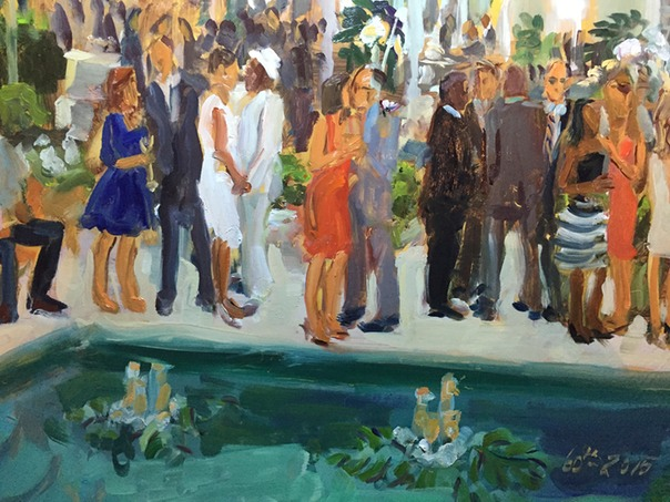 corporate owners celebrate in style and with a kiss in live event painting by Joan Zylkin The Event Painter.