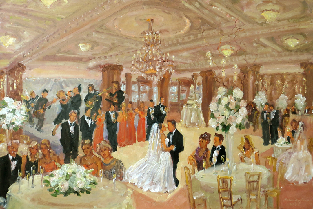 wedding at the crystal tea room philadelphia painted live during the evening by joan zylkin