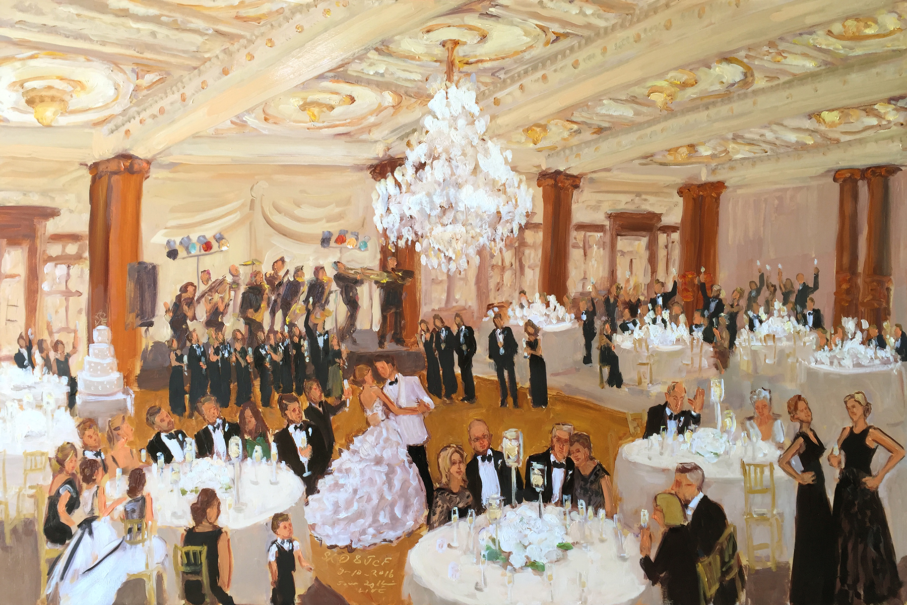 Crystal Tea Room Wedding Painted Live During The Reception By Event Painter Joan Zylkin