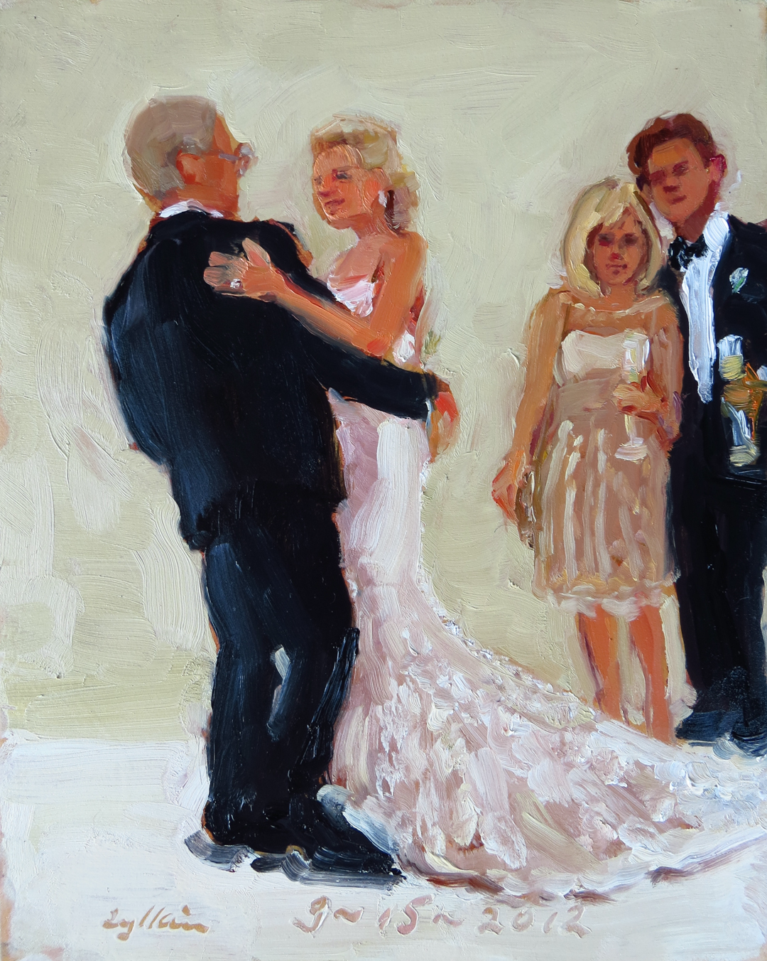 Wedding Gift For Couple Living With Parents : Wedding painting from photographs. a special gift from Bride to ...