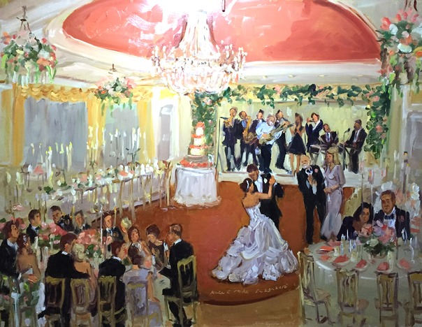 Live Event Painting Washington DC.  DC weddings.  Joan Zylkin The Event Painter.