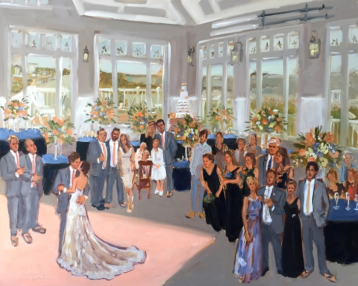 DE wedding painted live at the Lewes Yacht Club by The Event Painter Joan Zylkin.