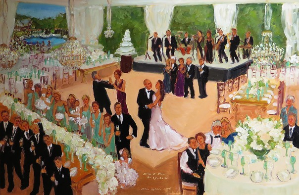 Live event painting at Bride's home in NJ with Sid Miller Band, Starr Events, Uncommon Events, Eventquip, by Joan Zylkin The Event Painter.