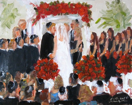 Wedding at The Marriott Philadelphia: Jewish Ceremony painted live as it was happening,vie wedding painting by Joan Zylkin The Event Painter.