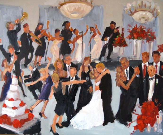Wedding Reception painted live as it was happening at the Marriott Philadelphia