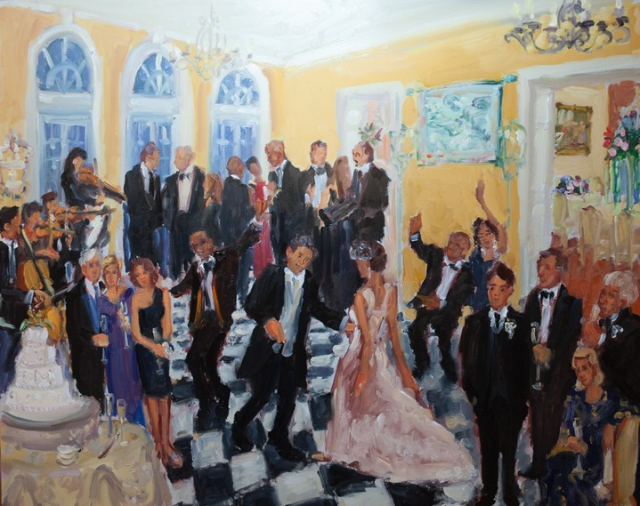 Live event wedding painting in Delaware at du Pont Brantwyn Estate by Joan Zylkin The Event Painter