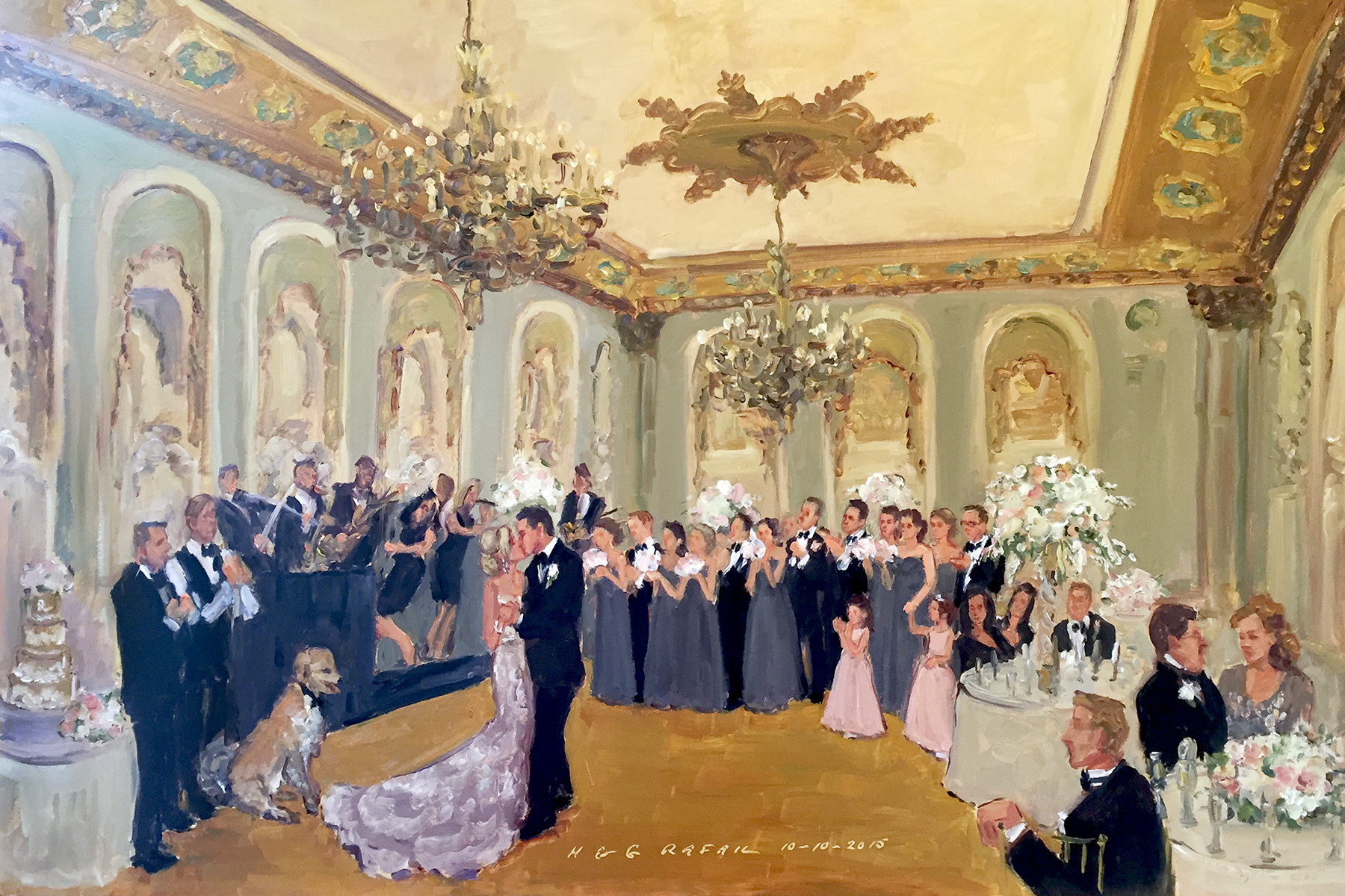 Hotel Du Pont Wedding Painting Live By The Event Painter Joan Zylkin