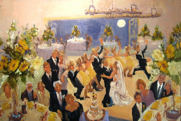 Valenzano Winery Wedding Painting:  Supermoon, Cinco de Mayo, and the Bride wore COWBOY BOOTS !