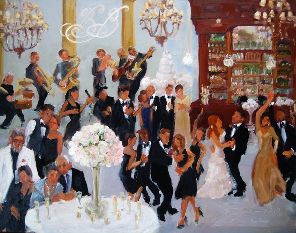 live-event artist, Painted live at Cescaphe Ballroom Wedding by Joan Zylkin The Event Painter