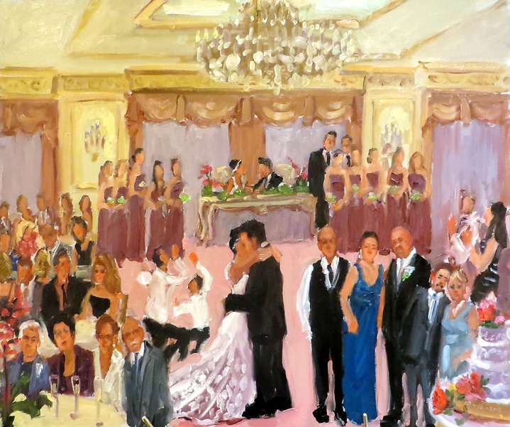 live-event artist, live event painting at an Italian/Portuguese Wedding in NJ
