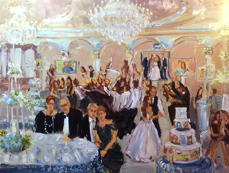 Live event painting at Bat Mitzvah in NJ by The Event Painter Joan Zylkin