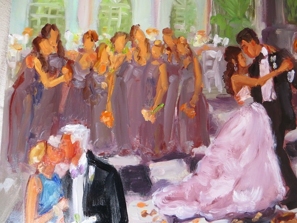 Louisville Wedding Live Event Painting close up of Bride and Groom's first dance, by Joan Zylkin The Event Painter