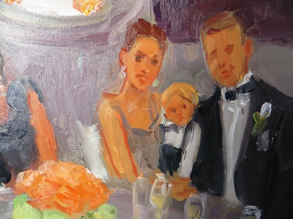 Louisville Wedding Live Event Painting close up of Bridesmaids  and first dance, by Joan Zylkin The Event Painter