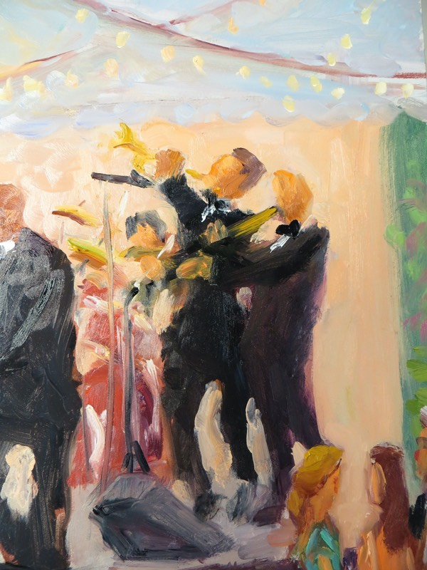 Louisville Wedding Live Event Painting close up of Wedding Band, by Joan Zylkin The Event Painter.