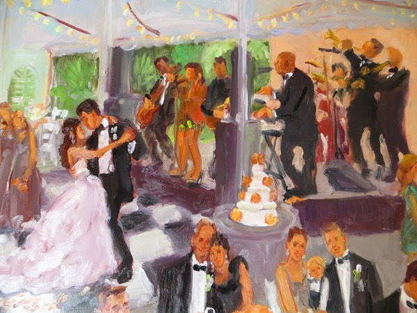 Louisville Wedding Live Event Painting close up of Family Portrait, by Joan Zylkin The Event Painter.
