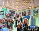 Live Event Bar Mitzvah painting with Manhattan theme by The Event Painter, Joan Zylkin