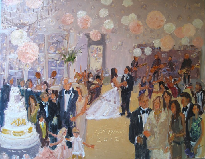 live-event artist, painting at a wedding Memphis Country Club