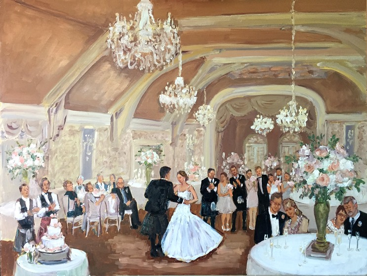 Merion Cricket Club Wedding live event painting.
