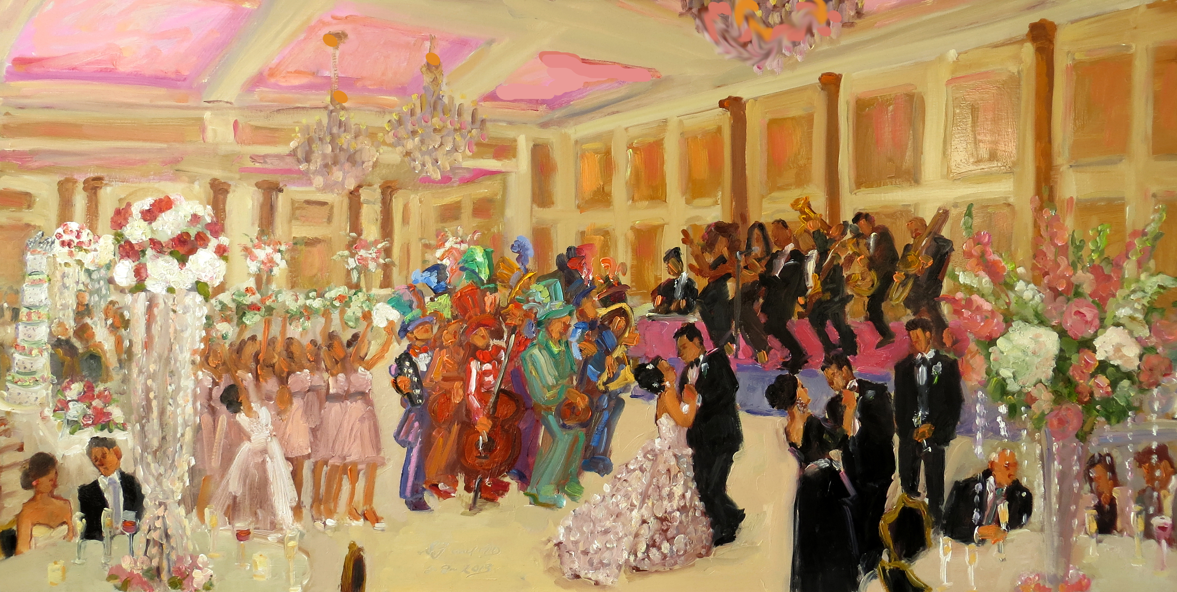 wedding at the merion nj live event painting with the mummers string band by joan