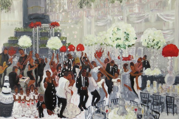 Wedding at the Curtis Atrium in Philadelphia painted live  by Joan Zylkin The Event Painter