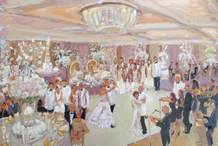 live-event artist, Painting a wedding with my Jimmy Choo Bride ... and pooch at the Sweetheart Table (click to see image enlarged)