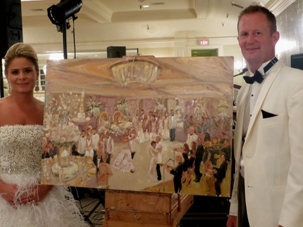 Jimmy Choo Bride and Groom with their painting by Joan Zylkin The Event Painter