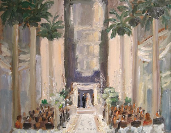 Wedding at the Curtis Center, live painting at Jewish wedding ceremony, Philadelphia by Joan Zylkin The Event Painter.