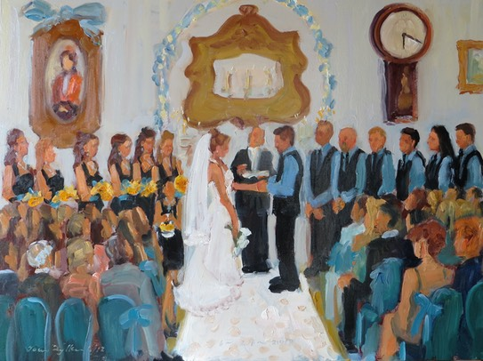 artist paints live at wedding ceremony.  live event painting by Joan Zylkin The Event Painter.