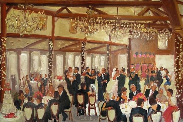 Wedding at Normandy Farm, BlueBell PA, captured in a live event painting by Joan Zylkin The Event Painter.