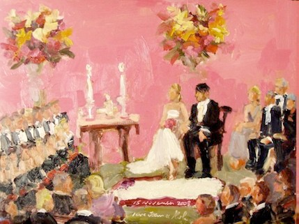 Wedding Painting: Quaker Vows by Joan Zylkin The Event Painter.