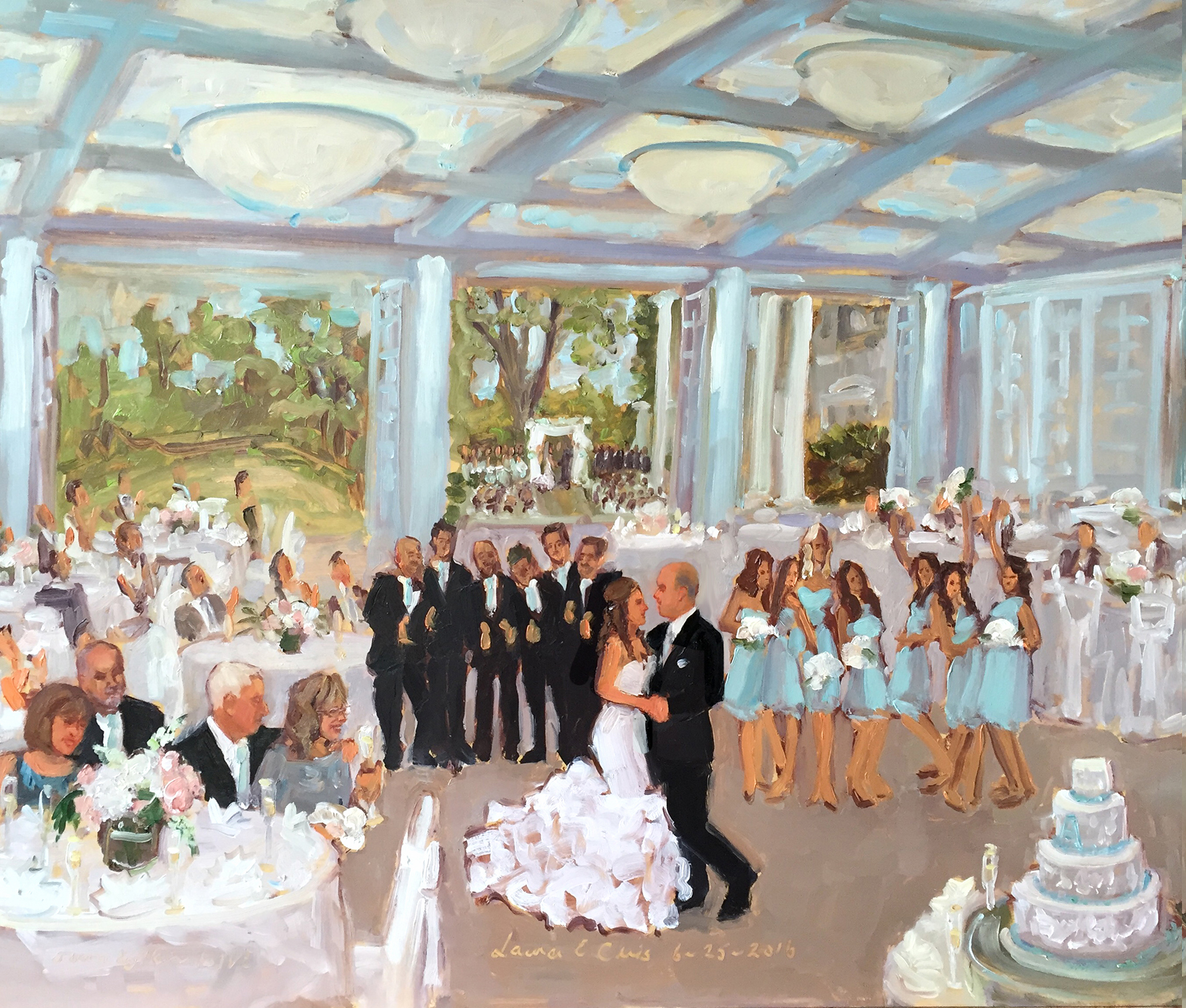 Radnor Valley Country Club Wedding Previous Next List Celebrations Captured In A Live Event Painting As They Were Hening By The