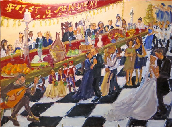 Renaissance Wedding, Live Event Painting by Joan Zylkin The Event Painter.