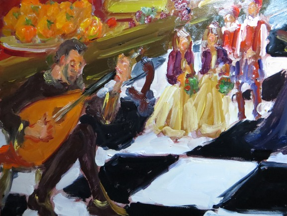 live painting at renaissance wedding close up showing lutist and children.