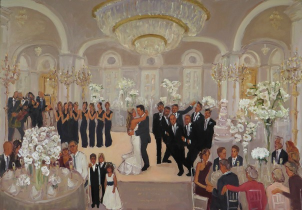 Brian Kappra Eventine Wedding at the Ritz Carlton painted live by Joan Zylkin The Event Painter.