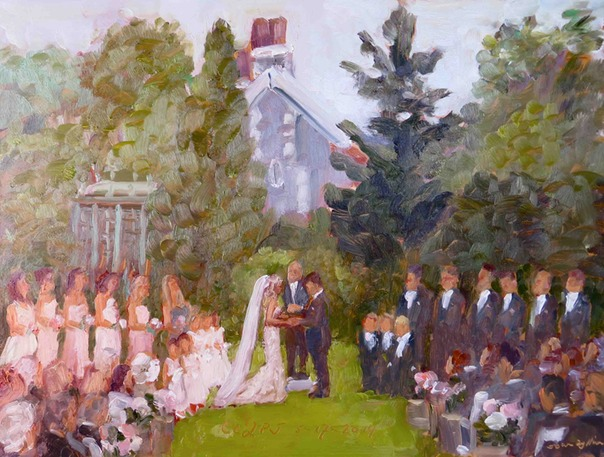 Wedding ceremony at Rockwood Park, DE. studio painting by Joan Zylkin The Event Painter