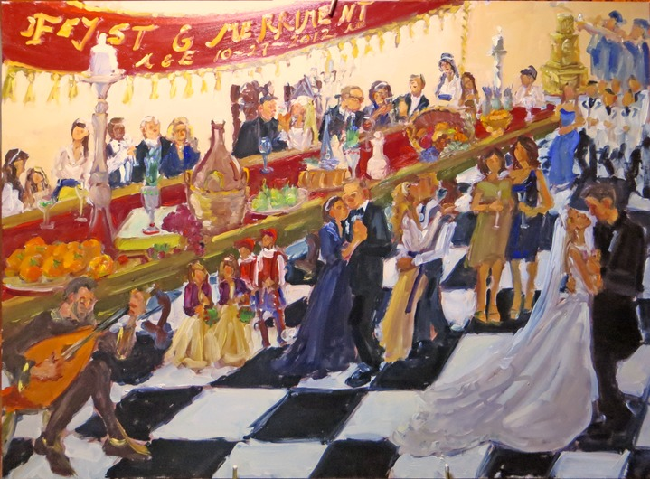 live-event artist, Renaissance Wedding Feast and Merriment, painted live by event painter Joan Zylkin