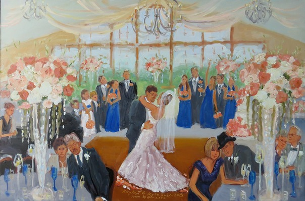 Live wedding painting at the Stroudsmoor Country Inn  by Joan Zylkin The Event Painter.