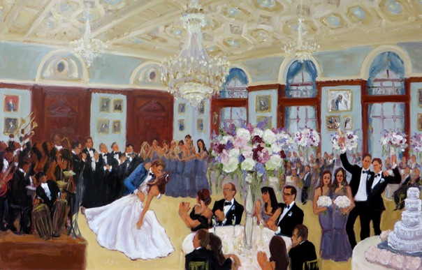 Studio painting from live event painting for the Bride's parents by Joan Zylkin The Event Painter.
