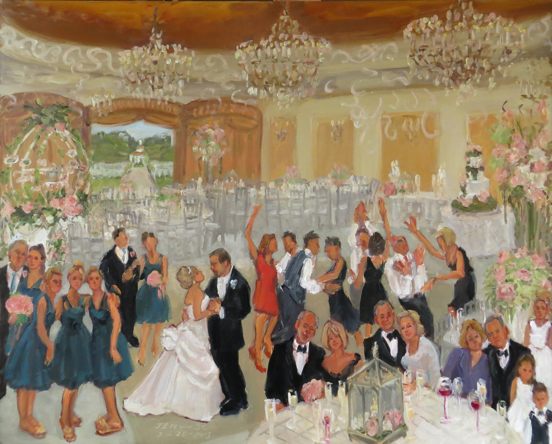 summer wedding painting at colonial inn nj live event