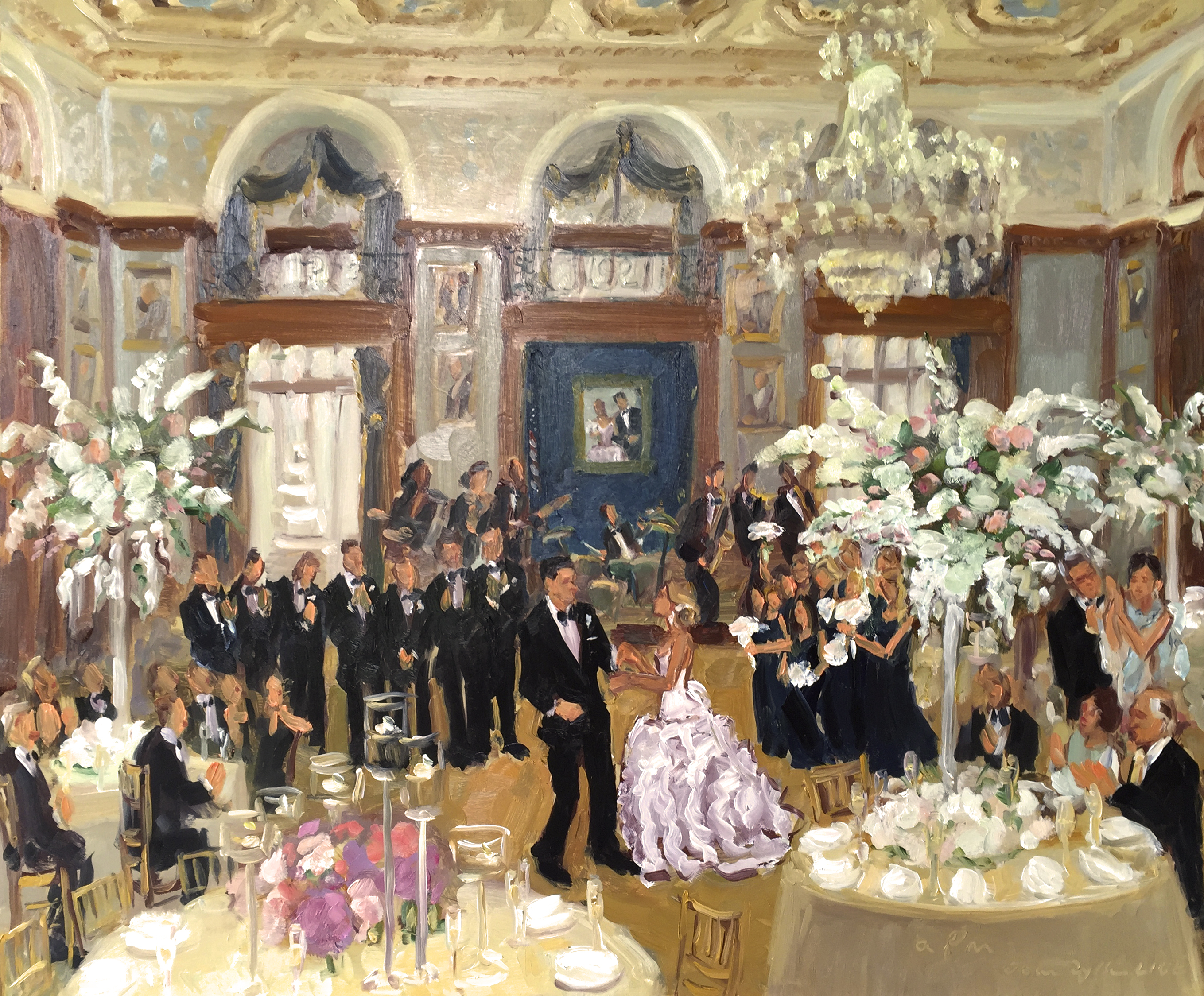 Union League Wedding Live Event Painting by JOAN ZYLKIN