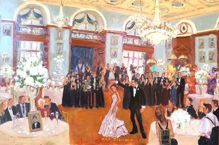 Live event painting at a wedding at the Philadelphia Union League by Joan Zylkin The Event Painter.