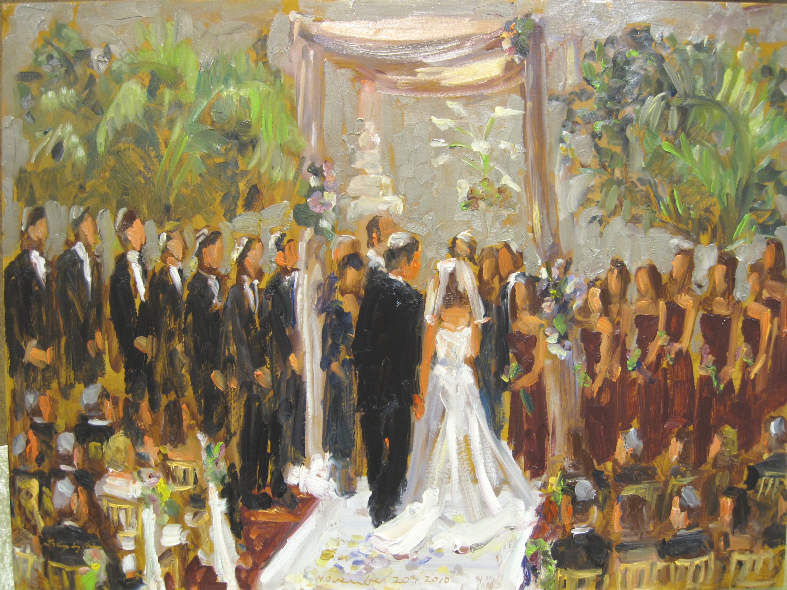 wedding at the doubletree live event painting by joan zylkin the event painter